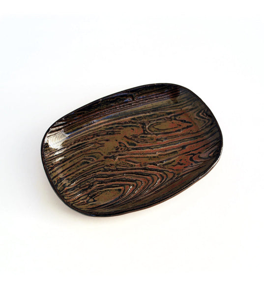 Woodgrain ceramic dish - man dish
