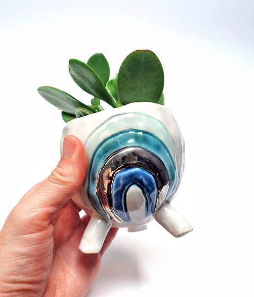 Rainbow Pinch Pot Planter - Aqua with Silver Luster