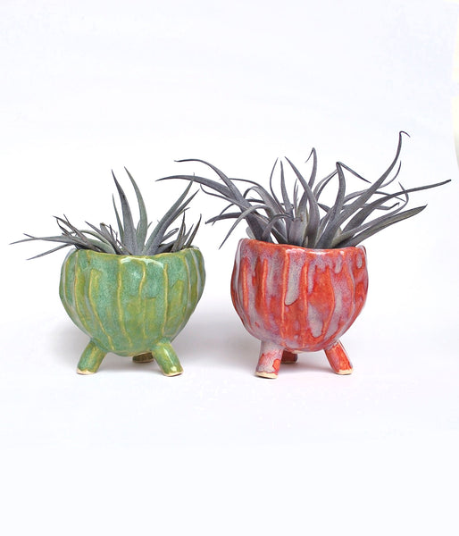 Pink and Green Pinch Pots - Air Plant Succulent Planters