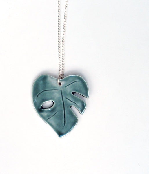 Green Monstera Leaf Necklace
