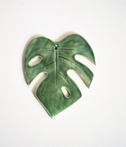 Green Monstera Leaf Wall Hanging - Small