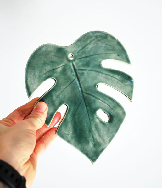 Monstera Leaf Wall Hanging - Forest Green - Small