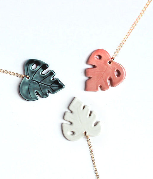 Monstera Leaf Necklace - Green, Pink, White - Gold Chain