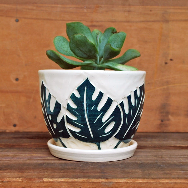 Monstera Leaf Ceramic Planter - Succulent Planter