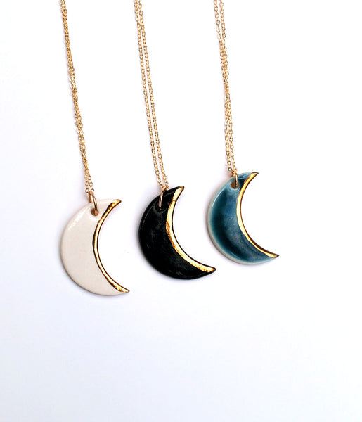 Porcelain Ceramic Crescent Moon Necklaces with gold luster edge and gold-filled necklace chain, in white, black and blue colors