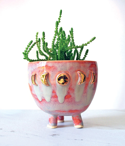 Pink Moon Phase Planter - Medium with tripod legs