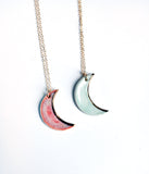 Porcelain Ceramic Crescent Moon Necklaces with gold luster edge and gold-filled necklace chain, in pink and light aquacolors