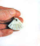 Porcelain necklace in fan shape, aqua color with gold luster vertical stripes