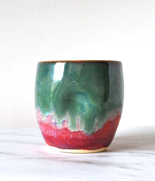 Bright Pink and Green Tumbler - Handmade