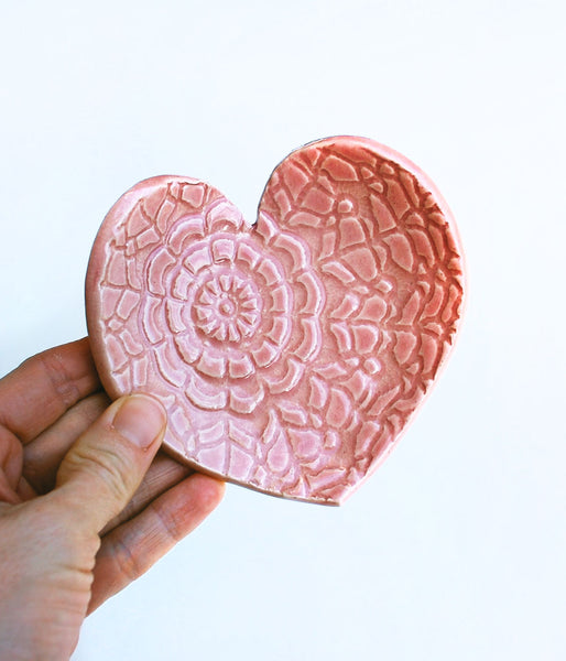 Pink Heart Dish - Large