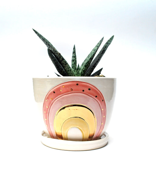 Rainbow Planter - Pink with Gold Luster