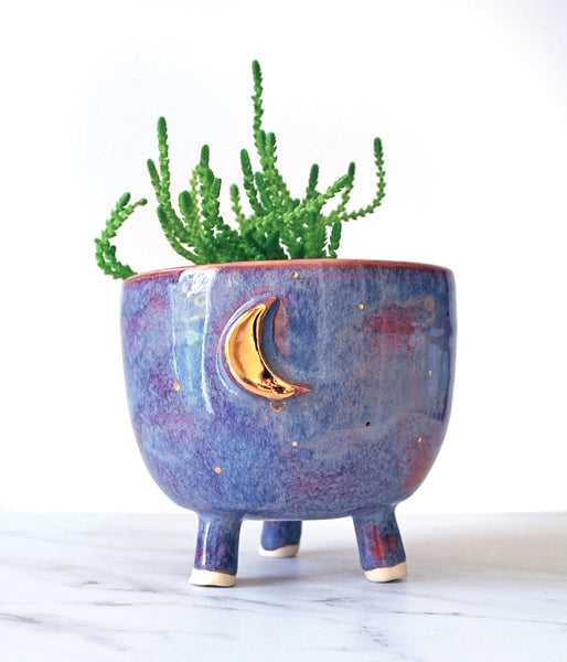 Purple and Gold Moon Planter - Medium with tripod legs