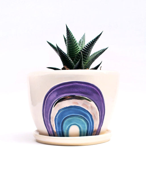 Rainbow Planter - Purple and Blue with Silver Luster