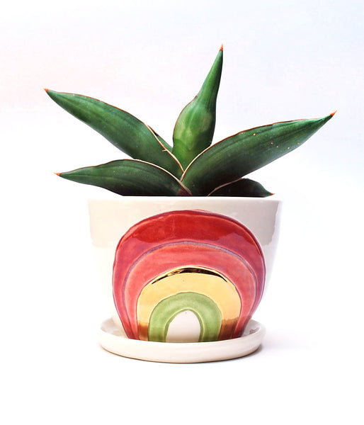 Rainbow Planter - Multicolored with Gold Luster