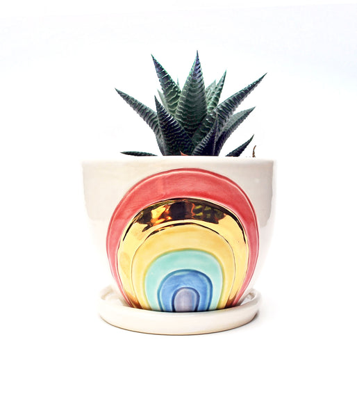 Rainbow Planter - Classic Colors with Gold Luster