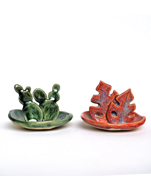 Green and Pink Jewelry Dish - Cactus and Monstera Leaf