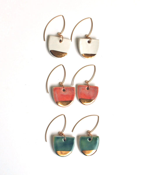 Ceramic dangle earrings with gold bottom in white, pink, or green