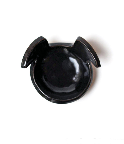 ceramic black dog bowl