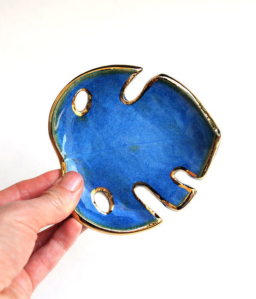 Blue and Gold Monstera Leaf Bowl - Small