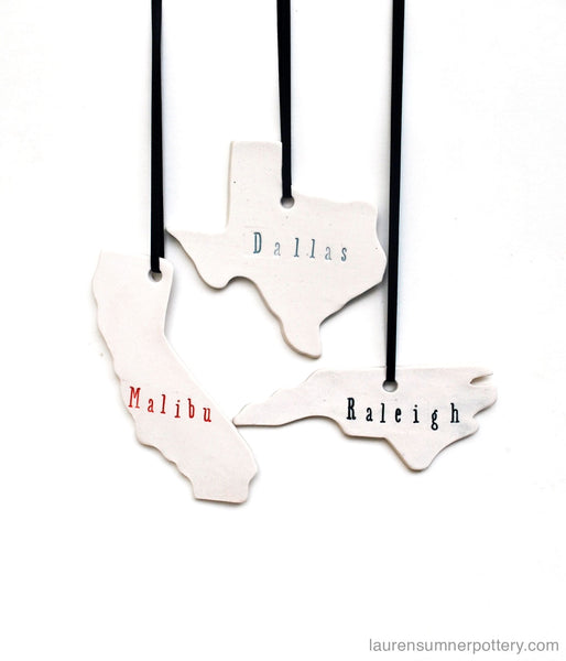 Handmade state ornament with city name