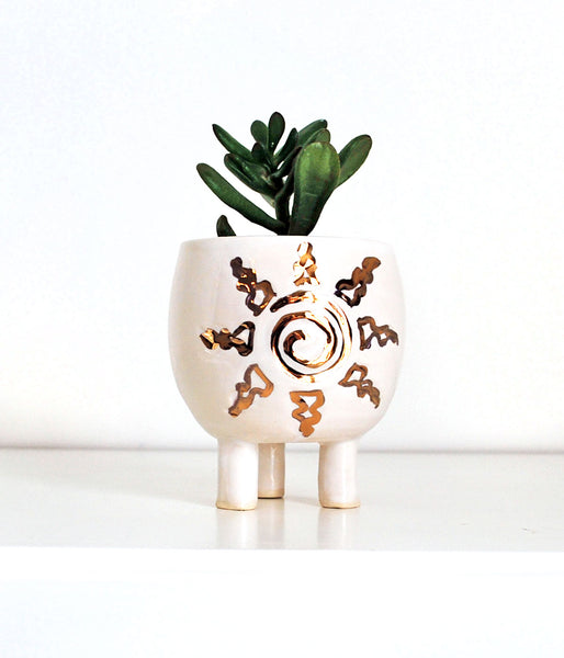 Sun White and Gold Mini Planter - Air Plant Succulent Planters