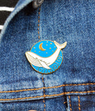 Whale Enamel Pin on a Jean Jacket