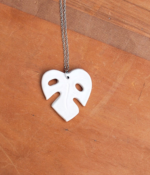White Monstera Leaf Necklace