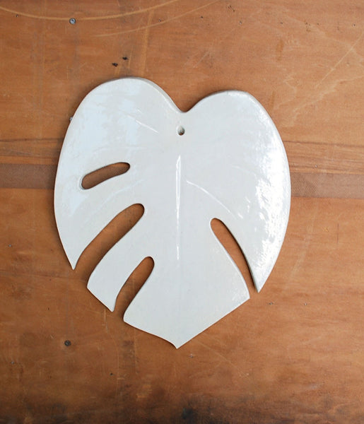 White Monstera Leaf Wall Hanging