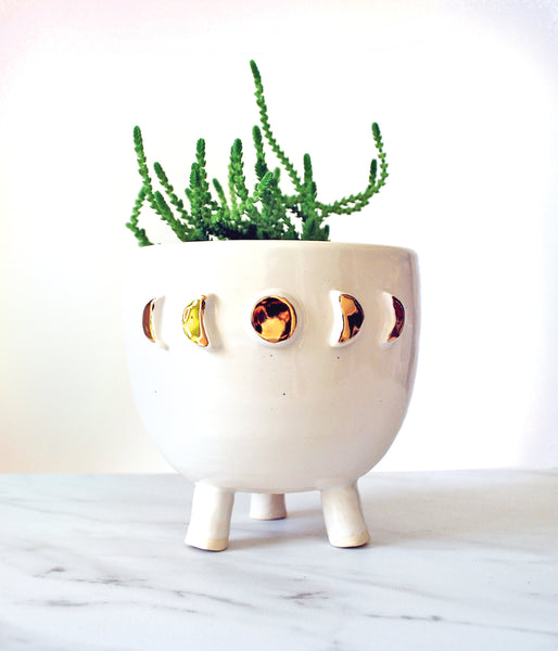 White Moon Phase Planter - Medium with tripod legs