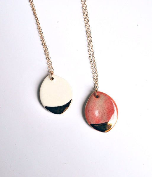 Oval Necklace - Pink, White, Gold - Gold Chain
