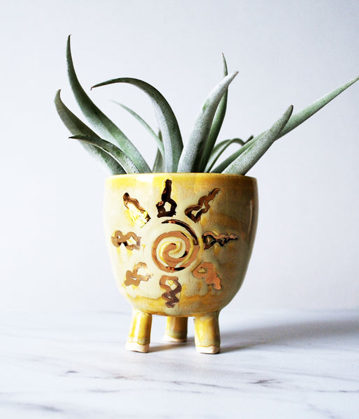Sun Yellow and Gold Mini Planter - Air Plant Succulent Planters