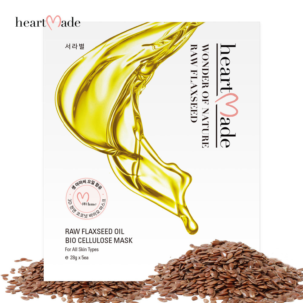 Heartmade Raw Flaxseed Oil Biocellulose Mask Sheet(28g*5)