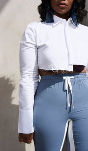 Undone | White Cropped Button Up