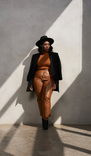 Forever Golden | Rust PU Leather Pants