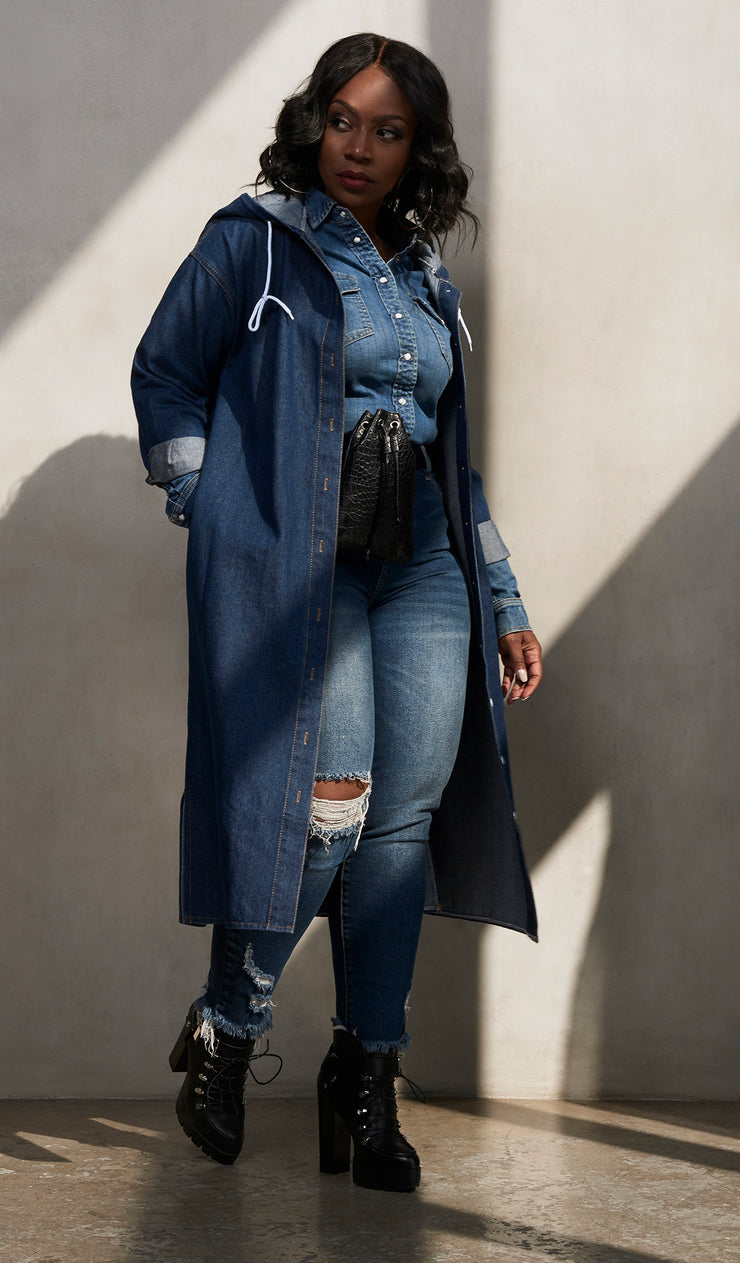 Say less | Long Denim hooded Jacket