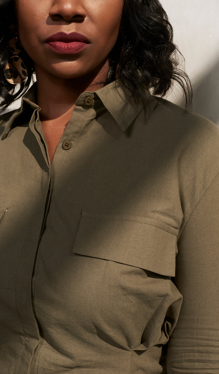 Bell | Olive Green Darted Button up