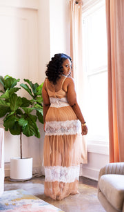 Simply Nude| Sheer Dress with Lace Details