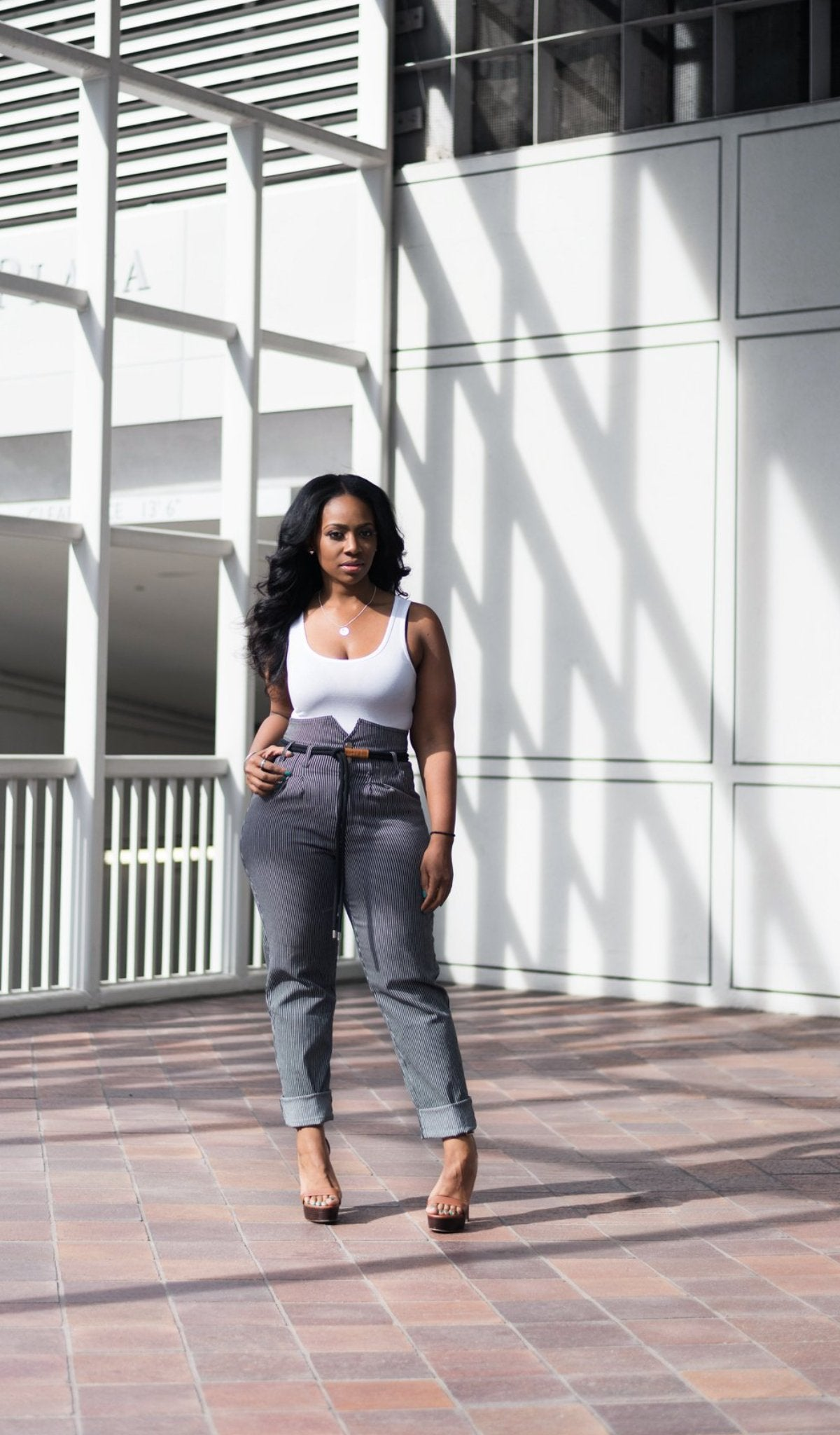 Stripe High Waist Pant with Rope Belt
