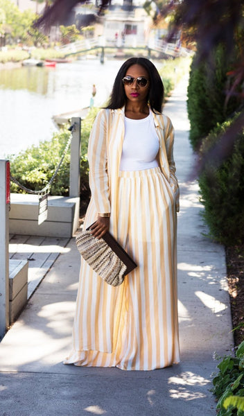 Staycation | Stripe Wide Leg Pant Set