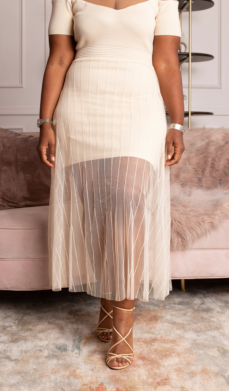 Elegance | sheer off the shoulder dress
