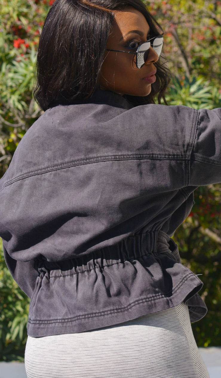 Rider | Washed Black Denim Jacket