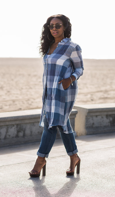 Wrinkle Me Happy | Oversized Plaid Button Up