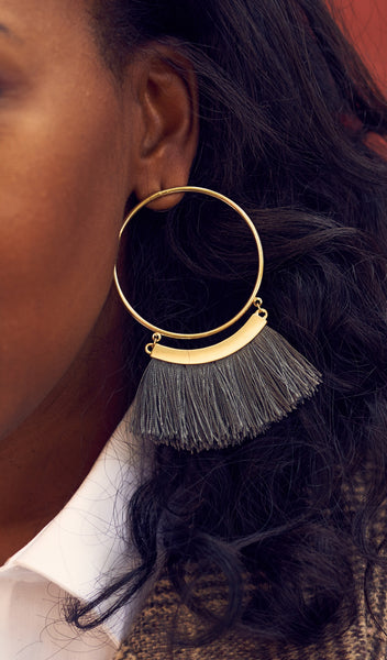 Full Moon | broom tassel earrings