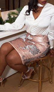 Winter Rose | Two Tone Sequin Skirt