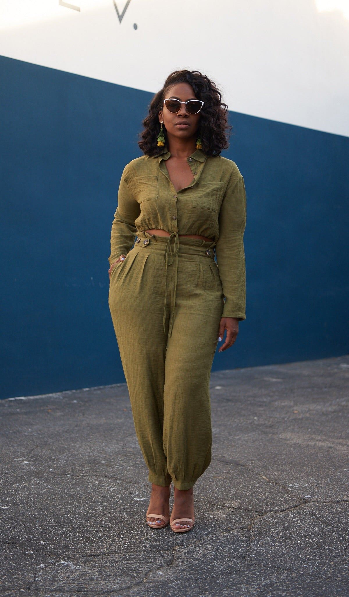 Green Ivy | Cropped Top Pant Set