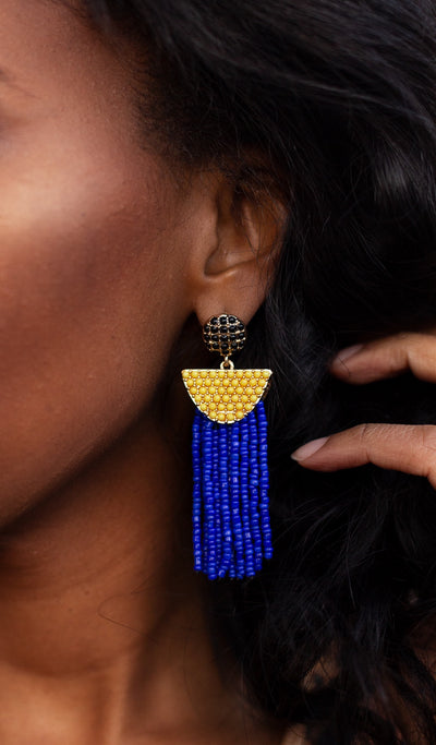 Blue sunrise | Beaded Tassel Earrings