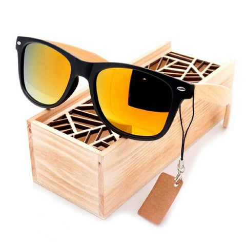 Sunglasses black square mirrored eyewear with bamboo arms