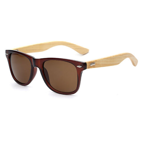 Sunglasses classic square design with bamboo arms