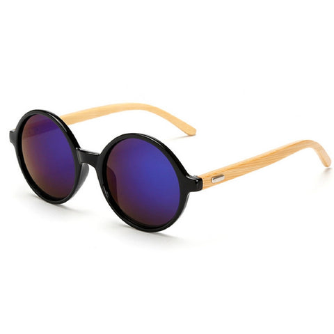 Sunglasses completely round retro vintage with arms in bamboo