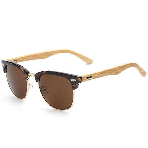 Sunglasses retro vintage oval frame with bamboo arms